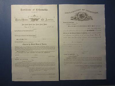2 Old 1880S Nevada Citizenship Documents   Eureka Co  Certificate   Declaration