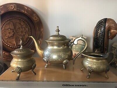 English Brass Heavy Teapot Set Sugar Bowl And Milk Jug Hand Decorations