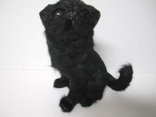 Black Pug Figurine made from Rabbit Fur