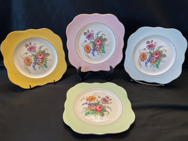 Colcough England Bone China Floral Dessert Plates Set of 4 Different Colors