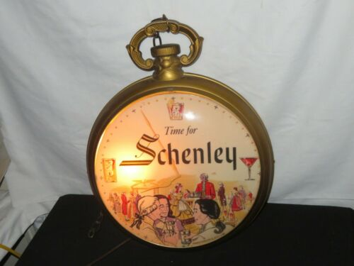 OLD WHISKEY ADVERTISING TIME FOR SCHENLEY  POCKET WATCH LIGHT TAVERN SIGN BAR