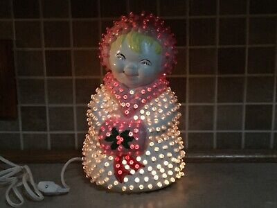 "Vintage Ceramic Mrs.Snowman Light Up 10"" Christmas Winter Lamp Twist Bulbs"
