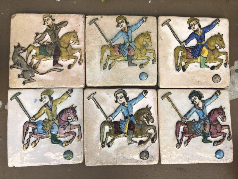 6 Antique Persian Qajar Tiles