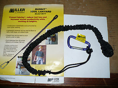 Miller 9077 5 Lb. Tool Lanyard 26-43 Stretch Nylon With Mini-carabiner New