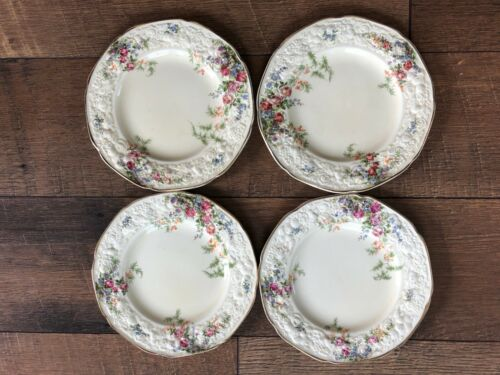 Vintage Crown Ducal China 6 inch Bread Plate Set 4 Rosalie Pattern England NICE!