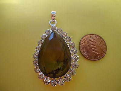 925 Sterling Silver Overlay Pendant Big Topaz? Gemstone W/Clear Rhinestones #7P