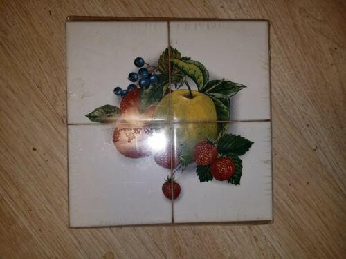 "Farm Fruit Ceramic Tile set of 4 of 4.25"" x 4.25""  Back Splash Decor New"