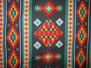 Navajo Native American Beaded Like Floral Black Border Print Cotton Fabric FQ