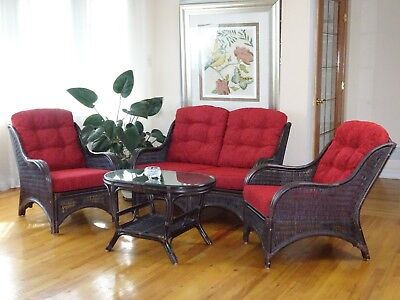 Living Jam Set of 2 Chairs Loveseat w/Burgundy Cushion Coffee Table, Dark Brown Dining Room Set Loveseat