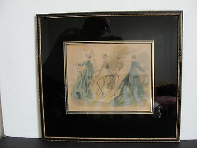 1880's-Les Modes Parisiennes Peterson's Magazine-Colored Engraving-Framed.