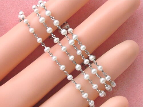 """ANTIQUE STYLE 2.4 - 2.7 mm PEARL BY-THE-YARD PLATINUM 15-3/4"""" CHAIN NECKLACE"""