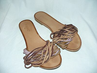 Inuovo Leather Sandals Mules Beach Shoe Leather Ribbon