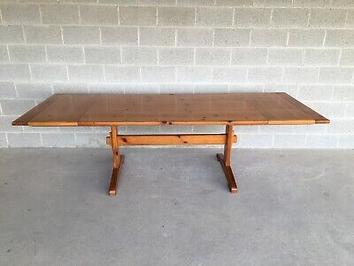 "ETHAN ALLEN FARMHOUSE PINE TRESTLE STYLE 100"" DINING EXTENSION TABLE"