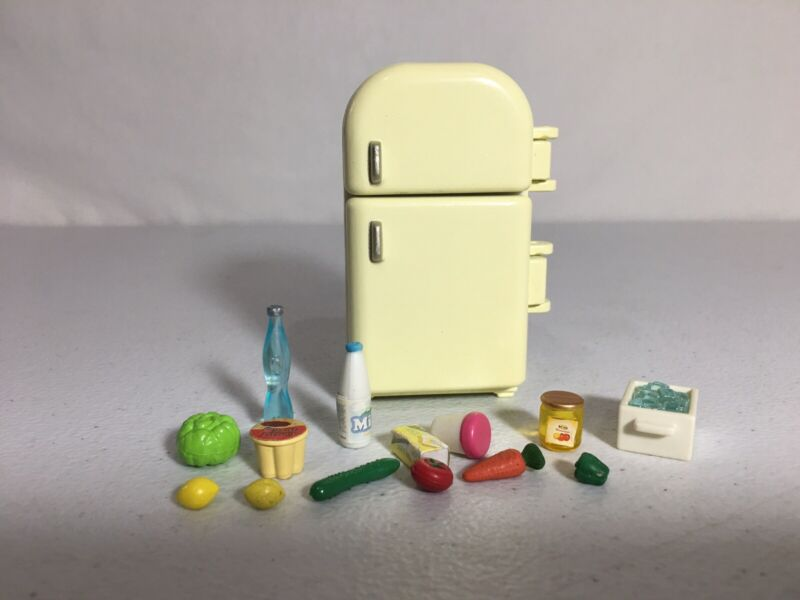 Calico critters/sylvanian families Refrigerator Fridge With Food