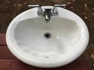 Porcelain Sink with Chrome Tap Set American Standard
