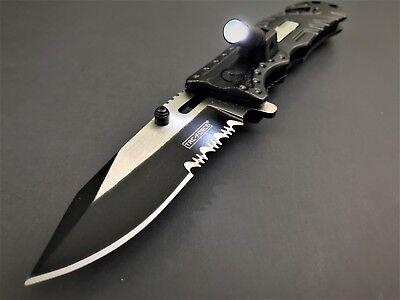 Tac Force Black Sheriff Spring Assisted Open Led Tactical Rescue Pocket Knife