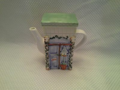 NICE! Garden Shop Teapot Cottage Store Front Ceramic Curio & Hutch Collectible