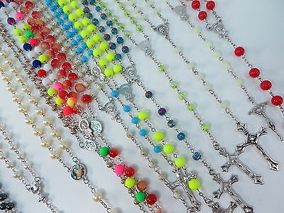 US SELLER-10pcs wholesale lot Rosary Acrylic Bead Necklace Cross Jesus Crucifix