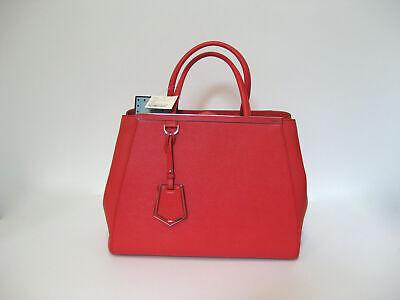 Fendi Bag NWT Coral Red Calfskin Leather 2jours Medium Shopper