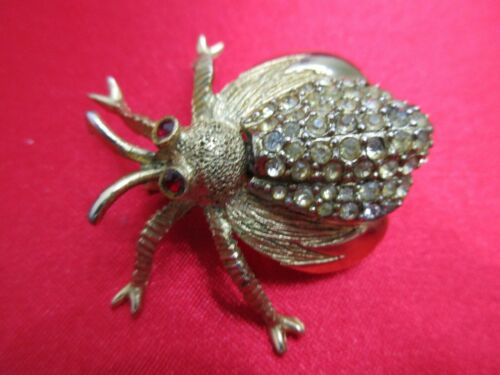Signed HAR Vtg. BEE Bug Bettle Insect Brooch Pin Rhinestone Fashion Jewelry Atq.
