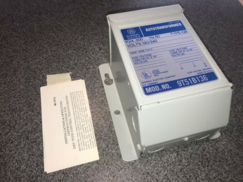 GE GENERAL ELECTRIC 9T51B136 AUTO TRANSFORMER .500KVA, 60Hz, 120/240V, 1 PHASE