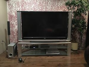 """60"""" TV, Stand, DVD player and Speakers"""
