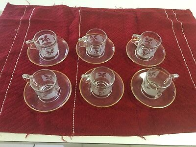 FROSTED DEMITASSE/EXPRESSO CUPS & SAUCERS W/GOLD LEAVES,WHEAT, ITALY - 12 PCS