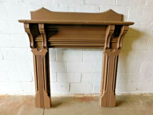 1885 Antique FIREPLACE MANTEL Surround VICTORIAN Eastlake Style Butternut ORNATE