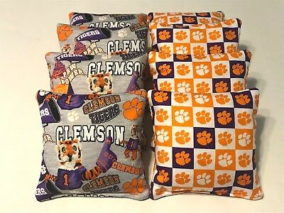 8 CORNHOLE BEAN BAGS CLEMSON TIGERS TAILGATE CORN HOLE BAG TOSS GAME REGULATION Clemson Tigers Tailgate Toss