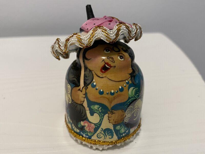 Rare Russian Lacquer Matryoshka Nesting Doll W/Parasol 10 Pc Artist Signed