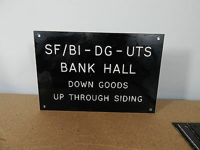 Vintage signal box lever sign Etched Plastic Bank Hall Down goods. 25cm x17cm