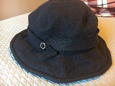 Zazu & Violets Hats Berkeley  Black Wool Medium Handmade W Rhinestone Unique