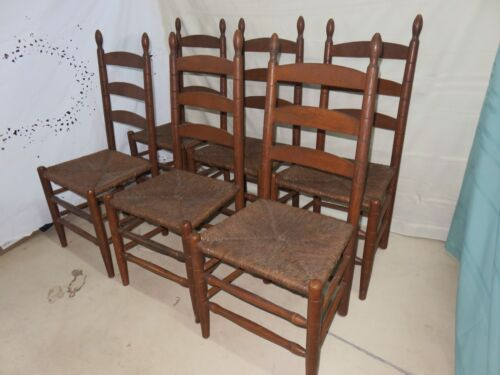 "Antique Ladder Back Chair -  Rush Seat - 3 Slats - 41.25"" tall (Set 6)"