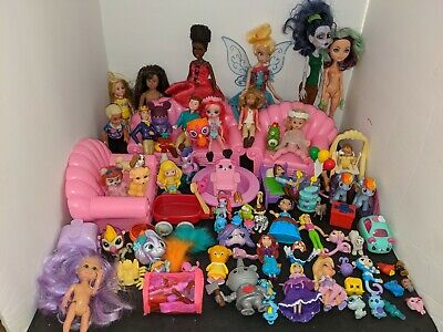 Huge Lot of Doll House Furniture and Accessories Monster High Barbie + more