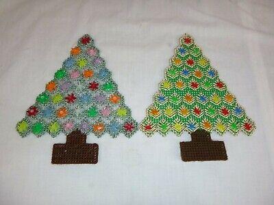 2 Vtg Plastic Point Yarn Christmas Decorations Jeweled Xmas Trees Kitsch Kitschy (Plastic Christmas Decorations)