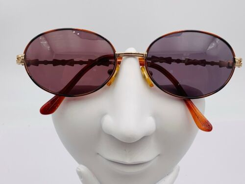 Vintage Gianni Versace G72 Brown Gold Metal Oval Sunglasses Italy FRAMES ONLY