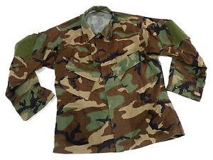 woodland raid modified bdu uniform top combat shirt medium