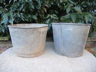2 Genuine Vintage Galvanised Flower Bucket  Garden Planters  23 cm high  (436d)