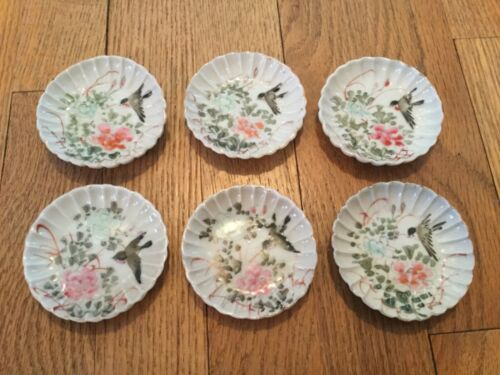 6 Vintage Individual Butter Pats - Little Hand Painted Scalloped Plates