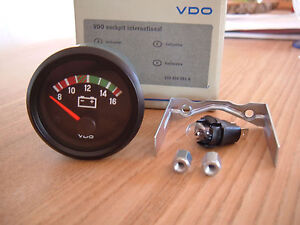 VDO Voltmeter 12V Instrument 52mm Gauge Cockpit International Classic VW BMW NSU