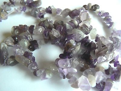 "Chip Beads Amethyst 3 to 12 mm Purple Gemstone Chips on a 34"" String"