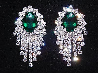 Emerald Green Chandelier -  Green Emerald with Clear Rhinestone Bridal / Chandelier Silver Clip Earrings