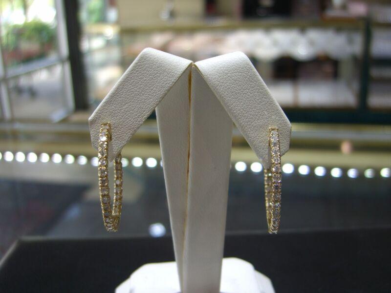 Fine 14 Karat Yello Gold Diamond Hoop Inside Outside Earrings 2.00 Carats New!!!
