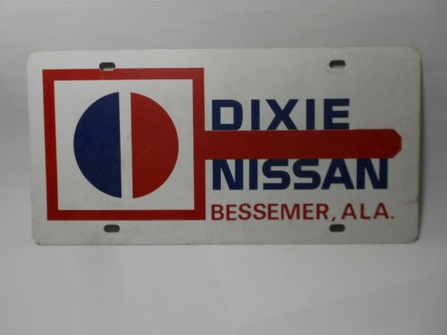 Vintage Metal Dixie Nissan Bessemer Alabama Car Dealership License Plate Car Tag