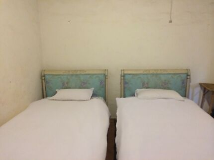 Pair of King Single Antique French painted Wooden Beds