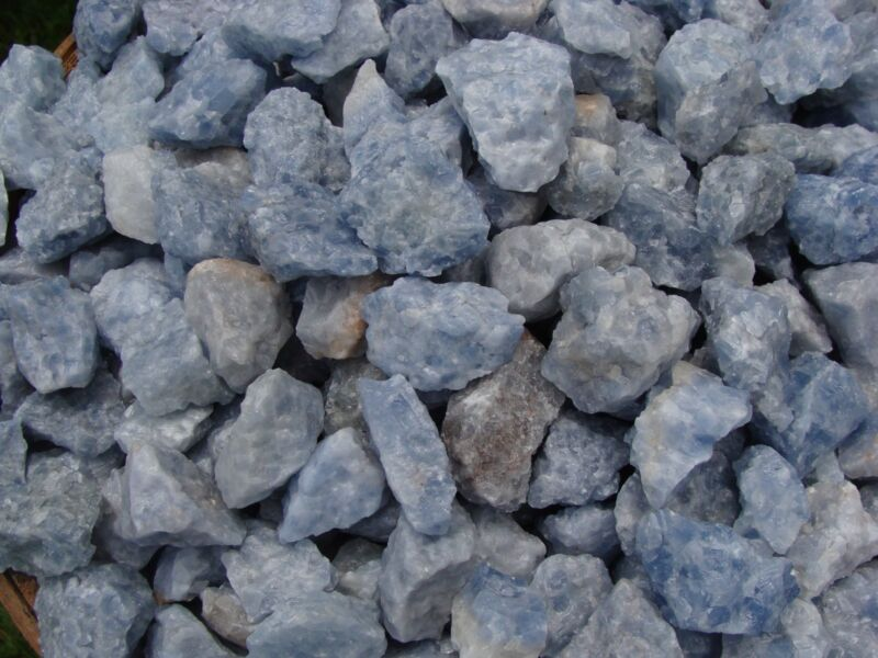 500 Carat Lots of Unsearched Natural Blue Calcite Rough + FREE Faceted gemstone