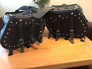 Studded Motorcycle Leather Saddle Bags