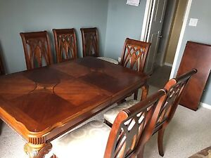 Full set dining table will 8 chairs with cabinet