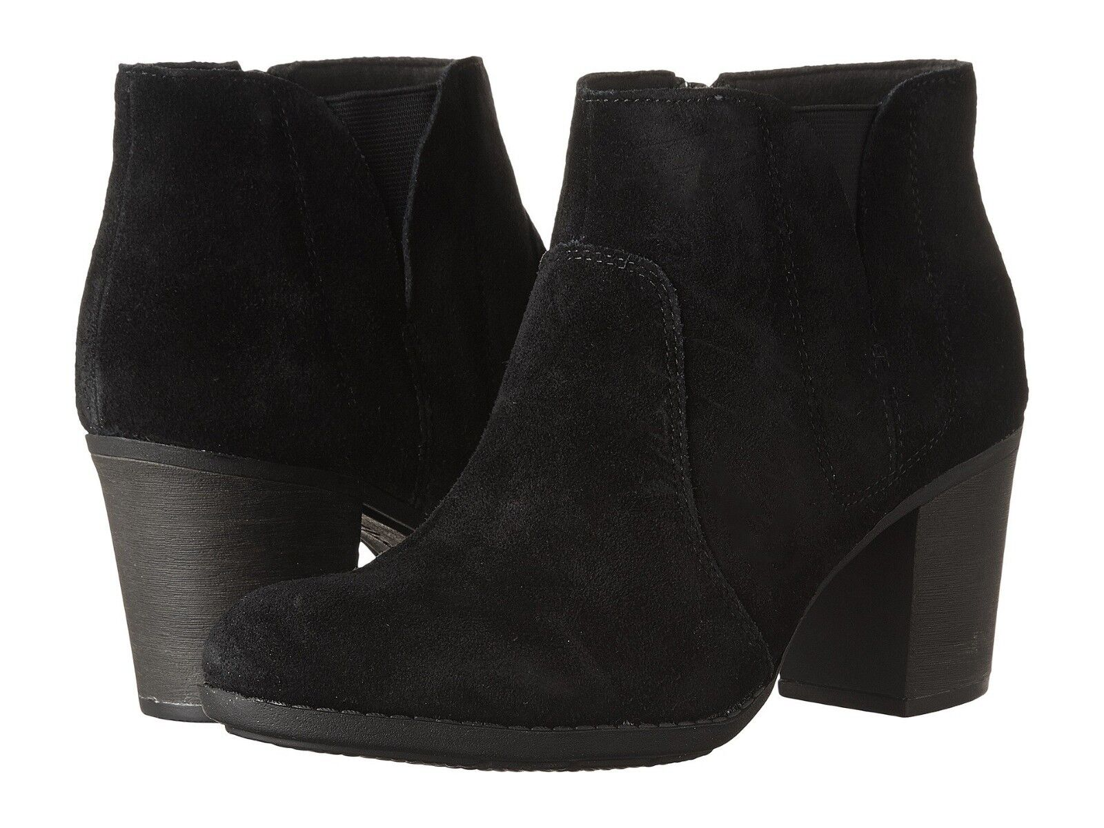 NEW WOMENS CLARKS COLLECTION ENFIELD SENYA BLACK LEATHER SUE