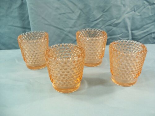 Lot of 4 Pink Glass Hobnail Votive Candle Toothpick Holders